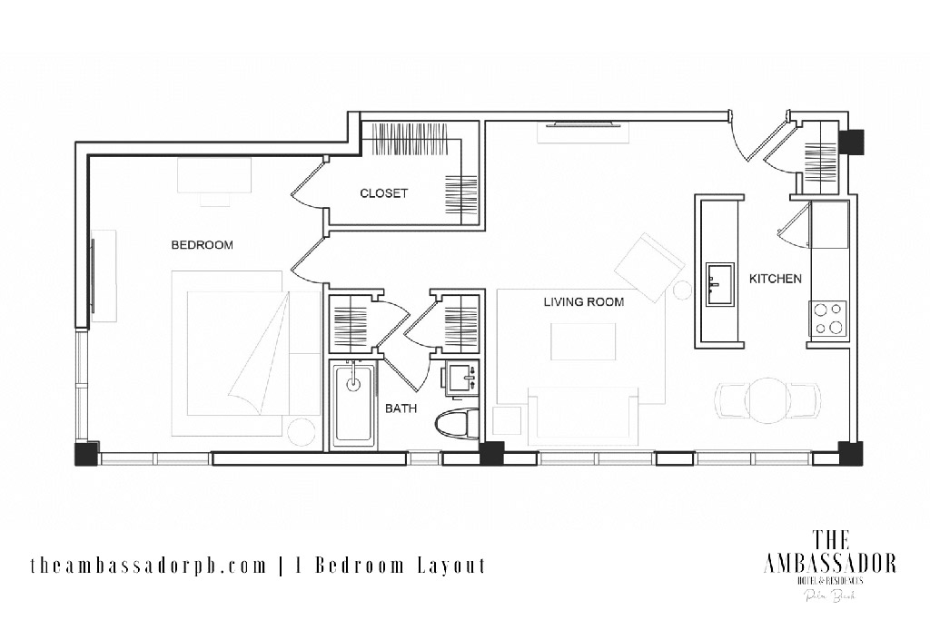 1 BR Floorplan