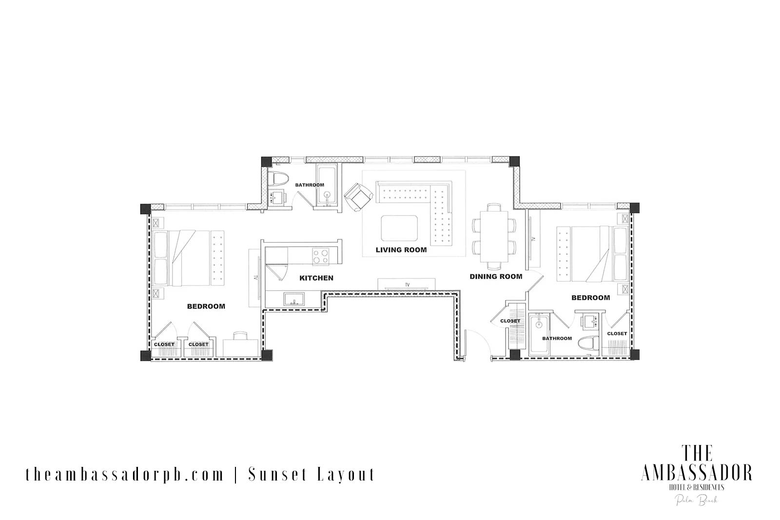 Sunset 1BR Floorplan
