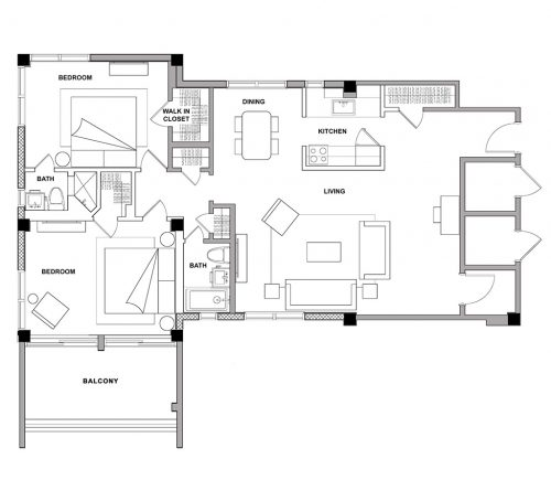 The Sandcastle - 2 Bedroom - Floorplan