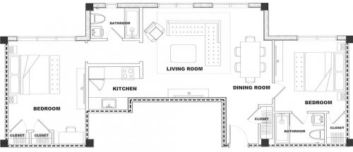 Sunset - 2 Bedroom - Floorplan