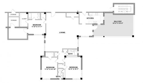 Penthouse A - 3 Bedroom - Floorplan