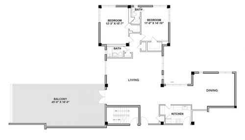 Penthouse D - 2 Bedroom - Floorplan