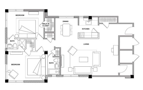The Pier - 2 Bedroom - Floorplan