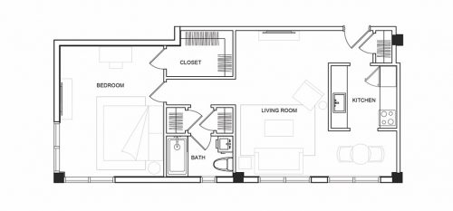 Walk On The Beach - 1 Bedroom - Floorplan